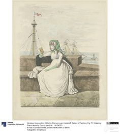"""""""Fig. 71: Watering Place. Morning Dress"""". Print from the magazine Gallery of Fashion, 1795. Photo Anna Russ, Kunstbibliothek, Staatliche Museen zu Berlin, CC-BY-NC-SA."""