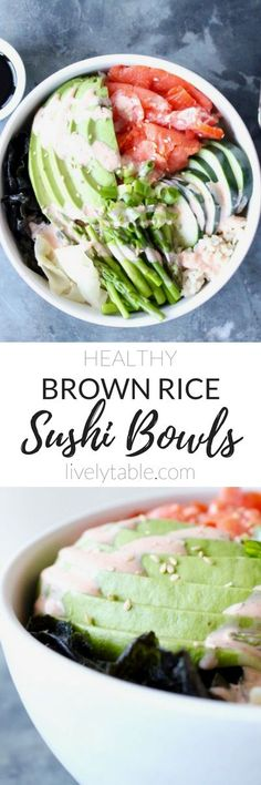 Easy and delicious brown rice sushi bowls are customizable so you can create a healthy meal to satisfy your sushi cravings at home! (gluten-free) | via livelytable.com
