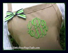 Khaki Preppy Monogrammed Apron - Personalized Chefs Baking Gift Idea Kitchen Bakers Adjustable Tan Neutral Beige Classic Womens bridemaids