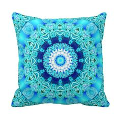 Blue Ice Angel Ring, Abstract Mandala Throw Pillows $32.95
