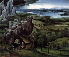 Patinir, Landscape with St Jerome, 1515-1519, oil on panel, 74 x 91 cm (29.1 x 35.8 in), Museo del Prado, Madrid, Spain