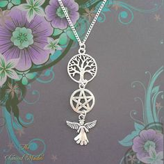 Angel Necklace, Pagan Necklace, Wiccan Necklace, Pendant Necklace, Silver Necklace, Pentagram, Tree of Life, Wicca, Witch, Guardian Angel
