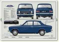 Ford Escort Mk1 4dr 1968-74 classic car portrait print