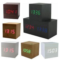 Sıcak USB/AAA Powered Küp LED Dijital Çalar Saat Kare Modern Ses Kontrolü Ahşap Saat Ekran Sıcaklık Gece Işık