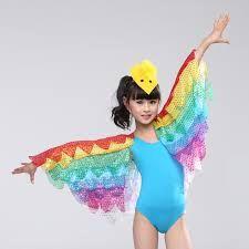 Child ballet bird costume Ballet Leotard with Rainbow Shawl performance Wear Bird Costume Kids, Bird Wings Costume, Parrot Costume, Modern Dance Costume, Dance Costumes, Cosplay Costumes, Phoenix Costume, Dance Store, Winged Girl