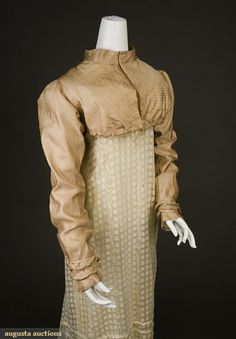 FIGURED SILK SPENSER, 1810-1825, Augusta Auctions