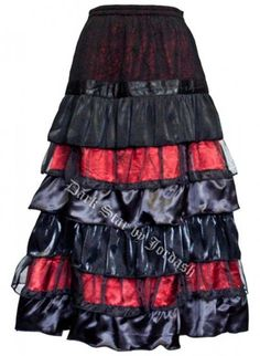 Mystic Crypt Dark Star Black and Red Cobweb Satin Lace Ruflle Tiered Gothic Skirt [DS/SK/7375R] - Dark Star Black and Red Cobweb Satin Lace Ruflle Tiered Gothic Skirt. The underskirt is made from black satin and covered in a thick black spiderweb and red lace throughout the skirt. The skirt is tiered and layered with satin cord. Long tiered skirt. Tiered frill skirt Details: Various fabric