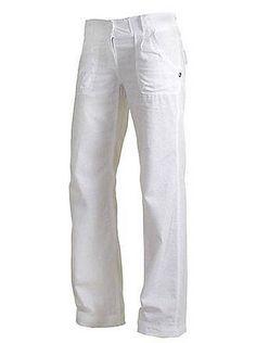 Где купить женские белые льняные брюки фото