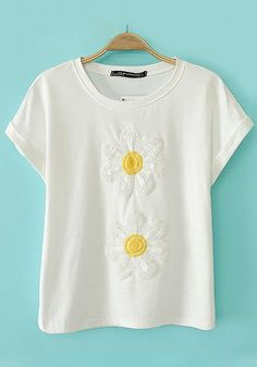 White Flowers Embroidery T-Shirt