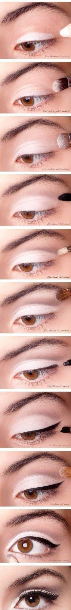 Rozświetlający make up oczu z kreską- krok po kroku!!!