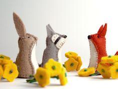 Little Felt Animals - Set of 3 - You choose. $36.00, via Etsy.