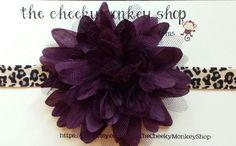 cheetah print and dark purple flower headband by TheCheekyMonkeyShop on Etsy