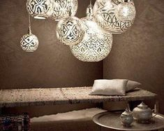 Brass hanging Lamps 4 sizes / Small M Large Arabic style hanging lamp Middle East decor Shadow lamp custom made light Moroccan Lamp Bedroom Light Fixtures, Modern Light Fixtures, Bedroom Lighting, Home Lighting, Lighting Ideas, Industrial Lighting, Modern Lighting, Entryway Lighting, Lighting Stores