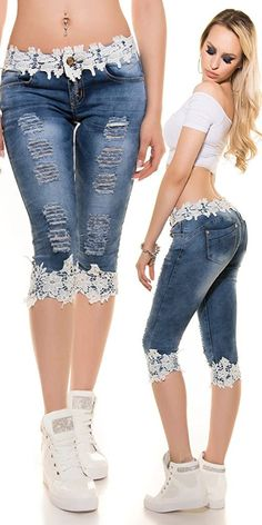 TCJULY 2019 Fashion Streetwear Knee Length Jeans With Lace Patchwork Skinny Push… TCJULY 2019 Fashion Streetwear Knielange Jeans Mit Spitze Patchwork Skinny Push Up Dünne Caprihose Stretchy Casual Blue Jeans Lace Jeans, Denim And Lace, Blue Denim, Denim Fashion, Fashion Pants, Fashion Dresses, Fashion Top, Fashion 2018, Jeans Refashion
