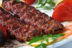 Kebab on the grill Turkish Recipes, Greek Recipes, Yummy Food, Spicy Recipes, Cooking Recipes, Turkish Kebab, Turkish Restaurant, Pork Roll, Healthy Recipes