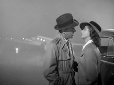 """Humphrey Bogart as Rick Blaine and Ingrid Bergman as Ilsa Lund in """"Casablanca"""" """"Casablanca"""" turned Ingrid Bergman and Humphrey Bogart into superstars. Ingrid Bergman, Casablanca Film, Casablanca Quotes, Classic Hollywood, Old Hollywood, Vintage Beauty, Vintage Romance, Happy End, Famous Movie Quotes"""