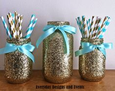 This listing will provide you with a set of 3 glass glitter mason jars decorated with glitter and satin bows around the mouth of the jar. You can choose the gold glitter and light pink bows in the drop down menu that you see in the main photo, or choose another color glitter and ribbon. In this set you will receive 2 pint sized jars and 1 quart sizes jar. Ribbon color: Light Pink, Hot Pink, Blue, Red, Yellow, Green, Purple, Aqua, Coral, Gold, Silver/Gray, Black, or Lime Green. *****...