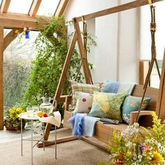 If you love the outdoors, why not find ways to bring the outdoor elements you love so much to the inside of your home? It's not difficult to find creative ways to enjoy the outdoors in your own living room, like a gorgeous Garden Swing Seat. Decor, Ideal Home, Wicker Decor, Home, Indoor Swing, Porch Decorating, Outdoor Furniture, Porch Swing, Swing Seat