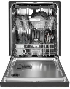The quietest KitchenAid® Dishwasher provides quiet cleaning without compromising performance, so there's no need to wait to run a wash cycle. A third level utensil rack holds silverware, serving utensils and spatulas, and an adjustable middle rack adds flexibility to fit tall items. Choose Stainless Steel with PrintShield™ Finish that resists smudges and fingerprints. Major Kitchen Appliances, Kitchenaid Dishwasher, Utensil Racks, Built In Dishwasher, Steam Cleaning, Serving Utensils, Open Concept Kitchen, Mixing Bowls, Black Stainless Steel