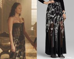 In the fifteenth episode King Henry made one short-lived friend who was wearing this Free People Embroidered Mesh Windswept Maxi Skirt in Black Combo ($67.20).