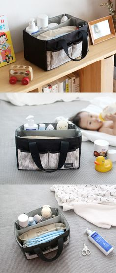 The Conitale Diaper Caddy knows what moms need! This cute organizer has a spacious compartment with a detachable divider to store and organize various baby items neatly. When this organizer is not used for carrying any baby items, it can also be used as an organizer at home!