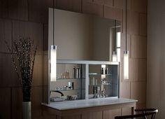 Bathroom Cabines with a Sleek Mirrored Door that Opens Upward - http://freshome.com/2010/02/04/bathroom-cabines-with-a-sleek-mirrored-door-that-opens-upward/