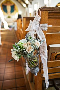 Church Pew Ceremony Flowers