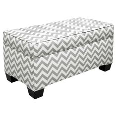 Gray + White Chevron Ottoman #chevron #ottoman
