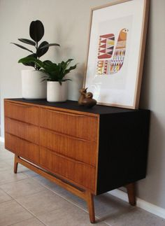 1960's Australian sideboard. Teak and matte black. Retro mid century modern Danish movement