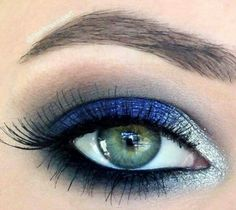 a look at this flawlessly executed royal blue and silver eye. Recreate the . - Make up -Take a look at this flawlessly executed royal blue and silver eye. Recreate the . - Make up - Glamorous Eye Makeup Tutorials For Events . Makeup Ads, Prom Makeup, Makeup Geek, Wedding Makeup, Hair Makeup, Kesha Makeup, Beauty Makeup, Hair Beauty, Makeup Items