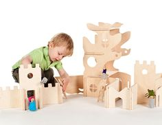 Our Modular Tree House AND Modular Building Walls make a beautiful combination set! Your child can build entire fantasy worlds with this set, then