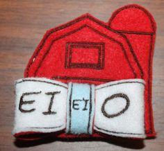 Old McDonald EIEIO 3d bow  embroidery machine pattern