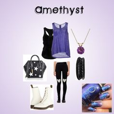 Amethyst - Steven Universe by ellalisaratt on Polyvore featuring The Elder Statesman, Stefanel, Dr. Martens, STELLA McCARTNEY, Everlasting Gold, Spring Street, amethyst and stevenuniverse