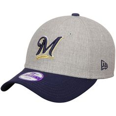 Milwaukee Brewers New Era Youth League 9FORTY Adjustable Hat - Heather Gray/Navy - $14.99