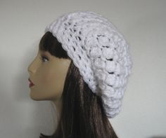 Crochet White Slouch  Hat Beanie Beret ♡ by CreativeDesignsbyAmi, $25.00