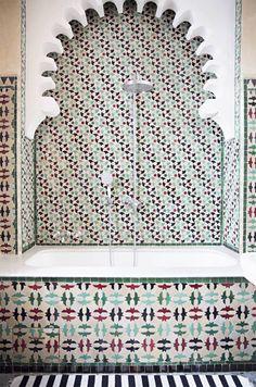 Moroccan tile fountain.