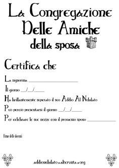 Diploma per addio al nubilato
