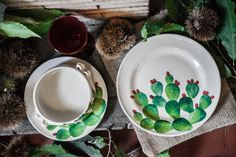 Cactus dinner set includes a soup & pasta bowl, a dinner plate and a side…