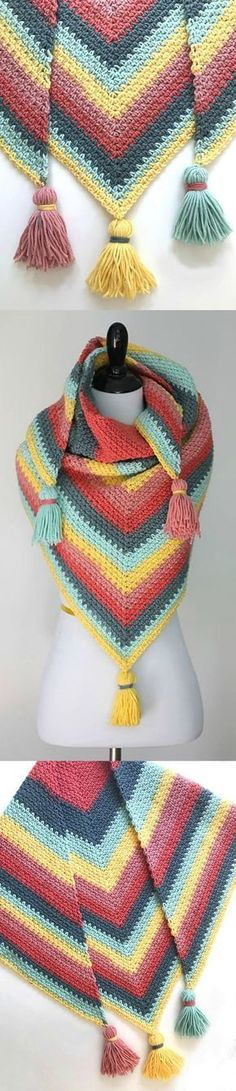 Moss Stitch Shawl For this beautiful and colorful shawl we have free Pattern by Well Known author Sarah Zimmerman. We have also have video tutorial from her for Moss Stitch. This moss stitch shawl is Crochet Prayer Shawls, Crochet Shawls And Wraps, Crochet Scarves, Crochet Yarn, Crochet Clothes, Crochet Stitches, Knitting Patterns, Knitting Ideas, Crochet Dresses