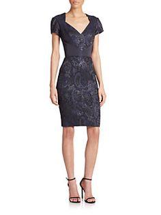 Theia - Stretch Jacquard Dress