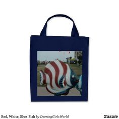 Red, White, Blue  Fish Tote Bag