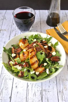 Grilled pear and crispy prosciutto salad with toasted pecans and goat cheese. #salad