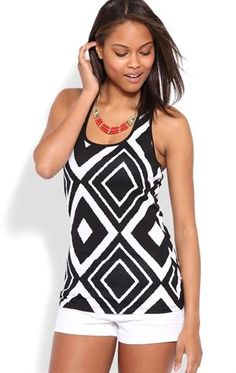 Deb Shops Tribal Print Tank with Three Strap Back $12.00