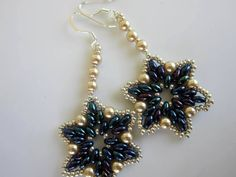 Beaded Earrings Twin Beads glass Pearl Seed Beads