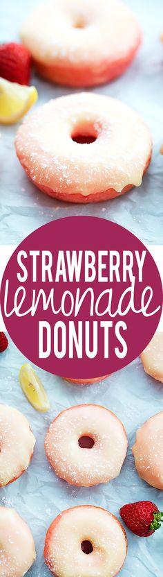 Cake Mix Strawberry Lemonade Donuts | Creme de la Crumb