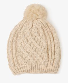 Pearlescent Cable Knit Hat   FOREVER21 - 2019572906