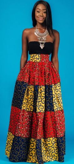 Latest Ankara Dress Styles the MULTI maxi * end of year clearance*. African print maxi skirt, 2 side pockets and zipper at the back. The skirt is fully lined. African Dresses For Women, African Print Dresses, African Attire, African Wear, African Women, African Prints, African Inspired Fashion, African Print Fashion, Africa Fashion