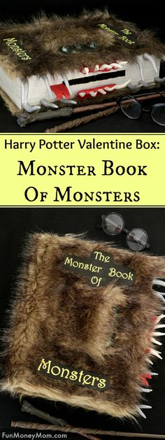 Harry Potter Valentine Box - Harry Potter fans will love making this Monster Book Of Monsters Valentine Box. It's a fun Valentine craft for kids that's perfect for Valentine's Day.  via @funmoneymom