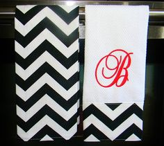 Monogrammed Kitchen Towels or Hand Towels in by DesignsByThem