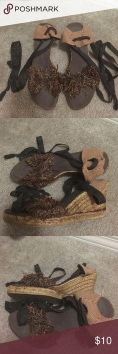 Brown Italian Espadrilles Italian Espadrilles purchased in Florence, Italy 10 years ago. Rarely worn and still have plenty of la dolce vita left in them. Heel height is about 3in. US size 9 fEuro size 39). Shoes Espadrilles